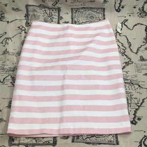Pink and white striped skirt kick pleat, lined P11